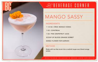Delicate, refreshing and bursting with fruity flavors, the Mango Sassy will get you ready for the warmer days ahead.