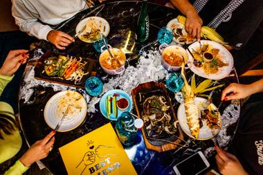 Bond with your BFF over Korean BBQ at this hip Strip eatery.