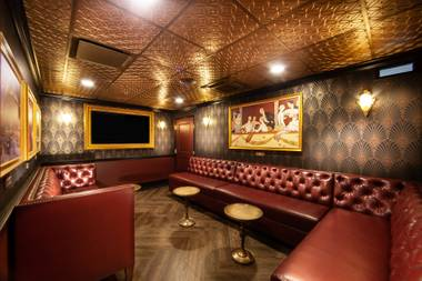 Find the hidden VIP room room within this Prohibition-style bar.