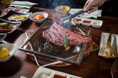 To get the full carnivorous experience, opt for the combo. The small ($89) comes with the Empress and Emperor's galbi (short rib), Pearl steak and brisket point, along with a steamed omelet and a bowl of Doenjang Jjigae stew. The large includes all of the above, plus prime ribeye.
