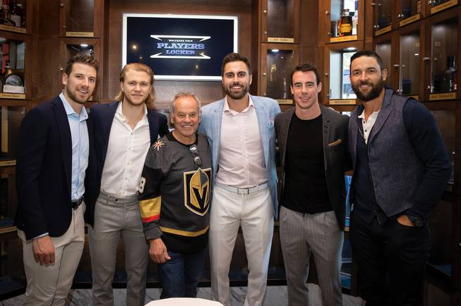 Wolfgang Puck poses with Vegas Golden Knights