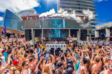 Marquee Pool is not like the wild pool parties of Marquee Dayclub. It's essentially an amped-up Las Vegas resort pool experience with high quality drink and food service and a live DJ.