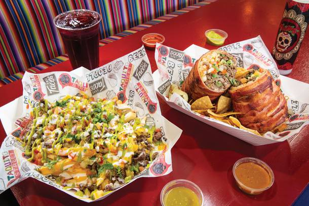 Carne asada fries and bacon-wrapped XL Burrito at Taquito Street