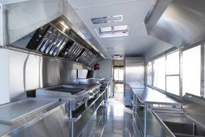 A custom-made food truck at Ibarra's Mobile Kitchen Solutions