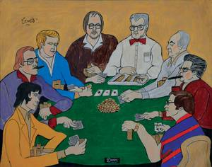 Rod Pardey, fourth from left, with other poker greats, as portrayed in a painting by Steve Venet